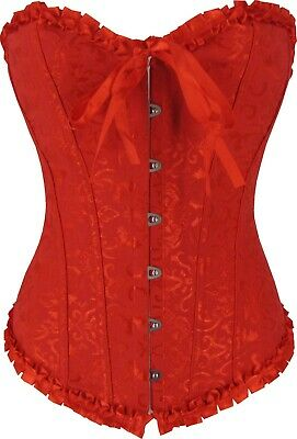 Red Corset Floral Brocade Cincher Waist Trainer Shaper Plus Size 6 to 24
