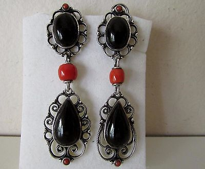 Antique Vtg Victorian Silver 925 Filigree Coral Bead Dangle Earrings Signed