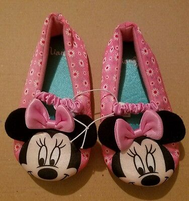 New Disney Minnie Mouse Toddler Girls Slippers House Shoes Size Large 9/10