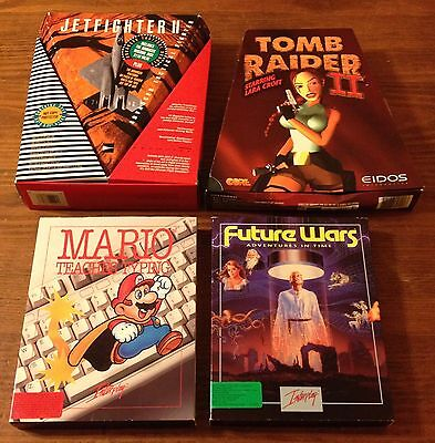 """Lot of 4 VTG PC Games Floppy 3.5"""" Interplay Mario Future Wars Adventures in Time"""