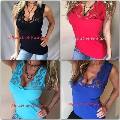 b29695ef10 SEXY Deep Cleavage Low Cut Scalloped Lace Neckline Fitted Stretch  Sleeveless Top