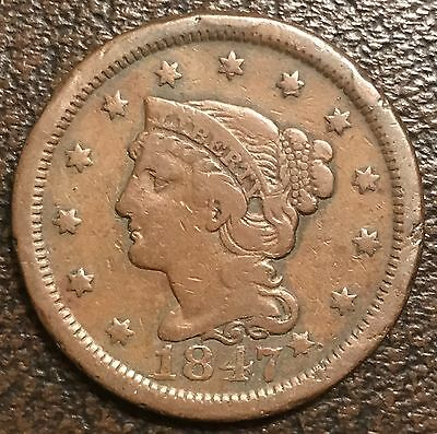 1847 Braided Hair Large Copper 1C Cent Coin U.S. Mint Philadelphia 01124#