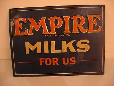 "Vintage Empire Milks For Us Milk Dairy Farm Embossed Metal Sign 13.5""x10"" Hangs"