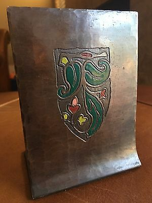 Rare ANTIQUE CRAFTSMAN STUDIOS ARTS & CRAFTS COPPER BOOK BOOKENDS ENAMEL PAINTED