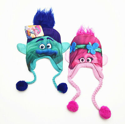 Trolls Pink Poppy Branch Trapper Hat Beanie Warm Winter Children Kid Xmas Gift
