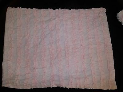 Land of Nod Standard Sham Pair Light Pink Ruffle Stripe