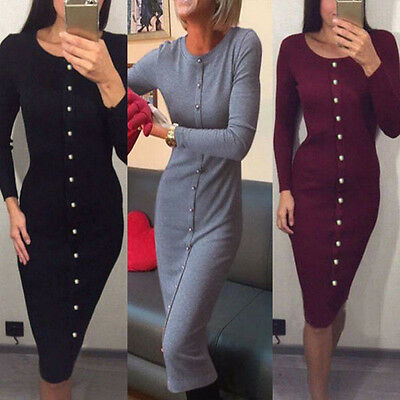 Women Long Sleeve Dress Ladies Winter Knitted Jumper Sweater Dress Tops Pullover