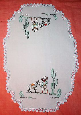 Large Vintage Embroidered Doily - Mexican Theme