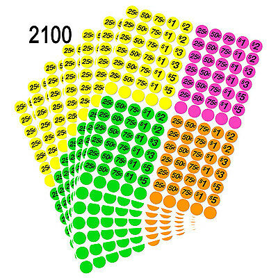 """2100Pcs, 3/4"""" Round Neon Color Preprinted Pricing Labels Self-adhesive Stickers"""