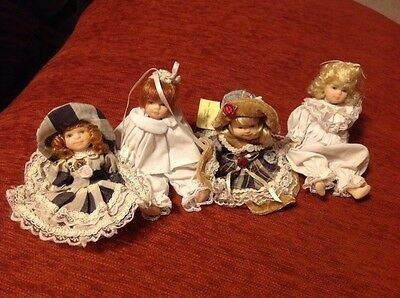 "Lot of (4) Fancy Friends Collectable 4"" Porcelain Dolls"