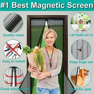 2 in 1 Fly Screen Mosquito Bug Door Magic Magna Mesh Magnetic Curtain Hands Free
