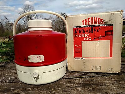 Vintage Red Thermos Picnic Jug 2 Gallon Model #FCT 8J16 7783 with Box