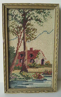 "Vintage Needlepoint 16"" x 6"" House by the River Landscape Wood Frame Pixel 8Bit"