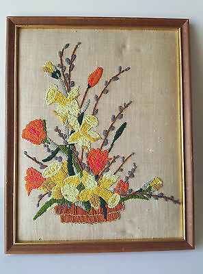 "Vintage Needlepoint 14"" x 12"" Basket of Tulips Daffodils & Pussywillows Flowers"