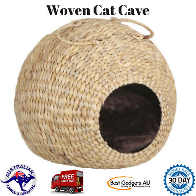 Cat Cave Woven Kitten Bed House Sleeping Warm Cozy Nest Igloo Winter Pet Bag Pad