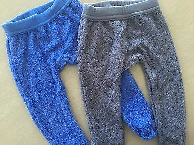 2 x Size 0000 ~ BONDS ~ 'Luxe' Terry Footed Pants / Bottoms ~ EUC!