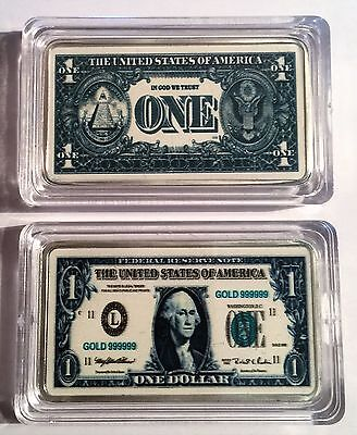 New $1.00 USA New Note 1 oz Ingot 999 Silver Plated/Colour Printed in Capsule