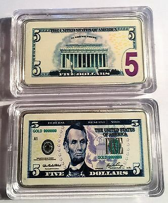 New $5.00 USA New Note 1 oz Ingot 999 Silver Plated/Colour Printed in Capsule