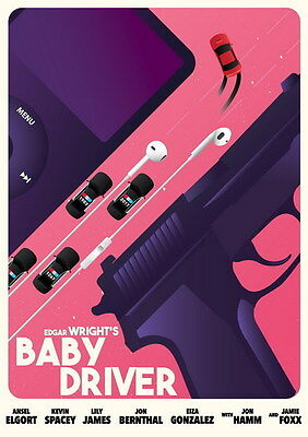 """001 Baby Driver - Ansel Elgort Car Crime Actioon UK Movie 14""""x19"""" Poster"""