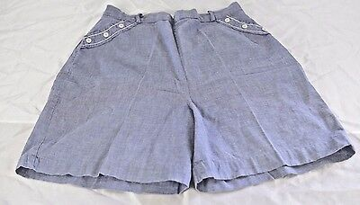 Vintage High Waist Shorts Rockabilly Back Zip Blue Chambray