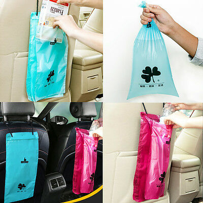 50Pcs Car Back Seat Organizer Travel Garbage Rubbish Storage Trash Hanging Bag