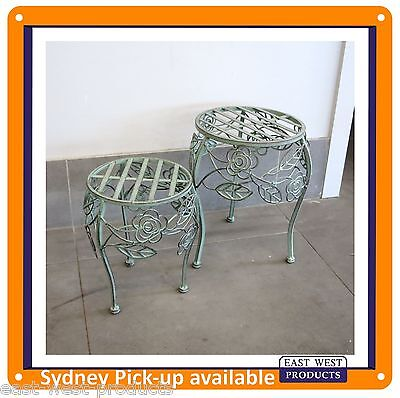 LOW PLANT STANDS Set of two ornate antique finish for indoor or garden