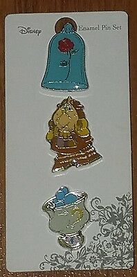 Disney Beauty and the Beast 3 Pin Set Cogsworth Chip Rose Loungefly New on Card