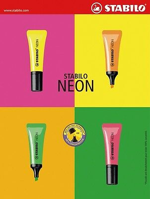 NEW Stabilo Neon Tube Highlighter 4 Colors [select color]