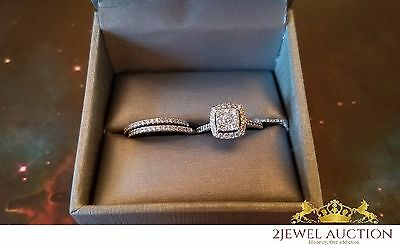 Ladies 10K White Gold Diamond Engagement Ring Round Cut Wedding Band Bridal Set