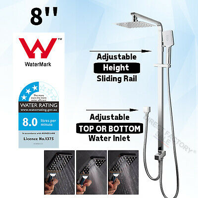 WELS 2IN1 Rain Shower Head + Handheld Gooseneck Wall Arm Diverter Set Drill Free