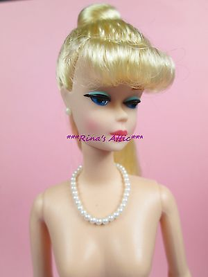 NUDE Barbie Doll w/STAND ~ Blonde Ponytail Vintage Repro Reproduction OOAK