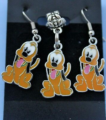 "Gorgeous Girls Disney's ""pluto Pup"" Pendant Necklace & Matching Earrings Set!"