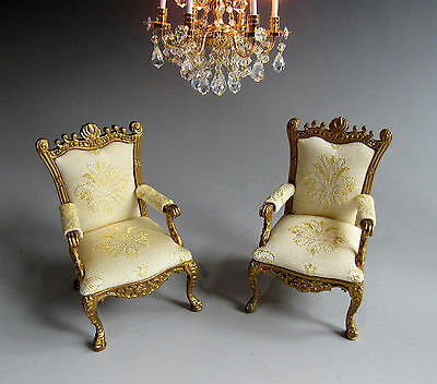 1:12th ~ BESPAQ  ~ PAIR GILTWOOD ROCOCO CHAIRS ~ FOR DOLLS HOUSE