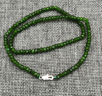 """New 2x4mm Faceted Natural Emerald Abacus Gems Necklace 18"""" Silver clasp"""