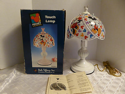 Tiffany Dale Disney Mickey Minnie Mouse Glass Lamp Light Rare stained vintage
