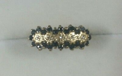 Genuine 9ct Yellow Gold, Sapphire and Diamond ring. Size P/7.75.