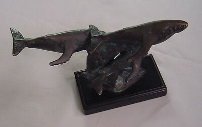 Brass Humpback Whale Statue on Wave Sculpture Decor