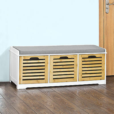 SoBuy® Storage Bench with 3 Drawers, Shoe Cabinet with Seat Cushion,FSR23-WN, UK