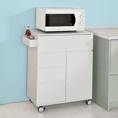SoBuy Kitchen Cabinet,Storage Serving Trolley with Drawers & Cupboard,FKW39-W,UK