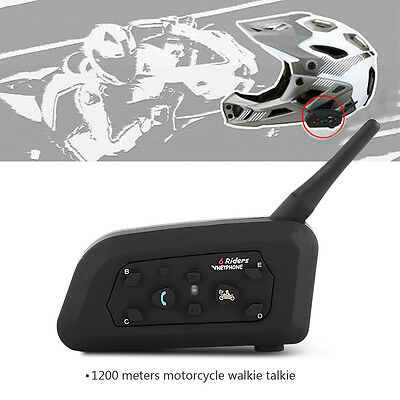1200M BT Bluetooth Motorcycle ATV Helmet Interphone Intercom Headset 6 Riders SS