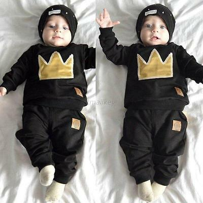 2pcs Newborn Toddler Kids Baby Boys Girls Outfits Tops+Pants Clothes Set 0-36M
