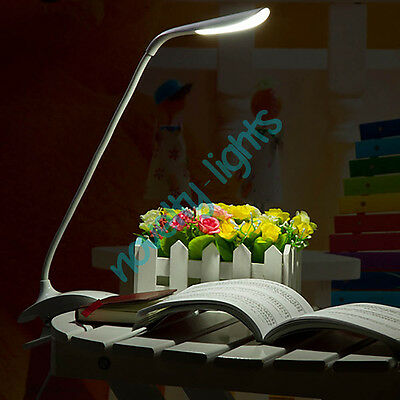 USB Recharge Clip-on Beside Table Reading Light Touch LED Dimmable Clamp Lamp
