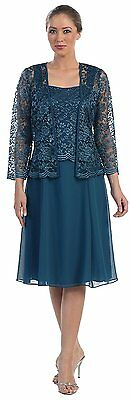 Calf Length Mother of the Bride Dresses Plus Size with Lace Jacket Gowns HD373