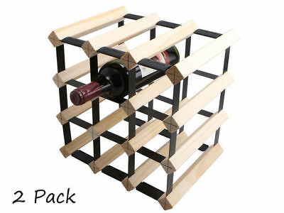 1 twin pack wooden wine rack holds 12 bottles each natural wood colour