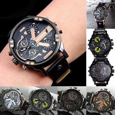 Men Fashion Date DADDY Quartz Wristwatches Casual Leather Analog Digital Watch