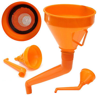 Orange Plastic Flexible Funnel With Mesh Screen for Water Oil Fuel Petrol Diesel