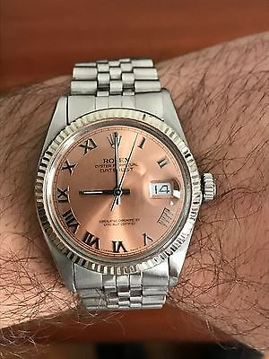 Men's Rolex Datejust Watch Stainless & 18k White Gold Fluted Bezel & Salmon Dial