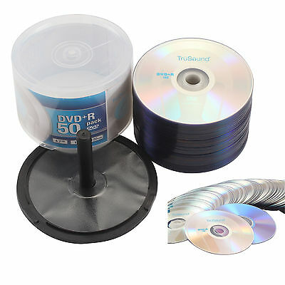 4.7GB Blank CD DVDS Full Face DVD+R Speed 50 Media Recordable Printable Discs