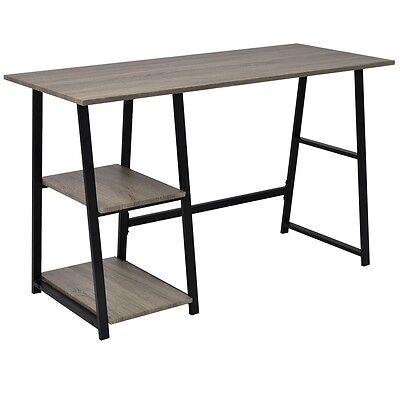 vidaXL Desk Writing Table WorkStation Computer Home with 2 Shelves Grey and Oak