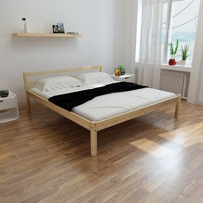 vidaXL Double Bed 5FT King Size/200x150 cm Bedroom Furniture Pinewood Natural